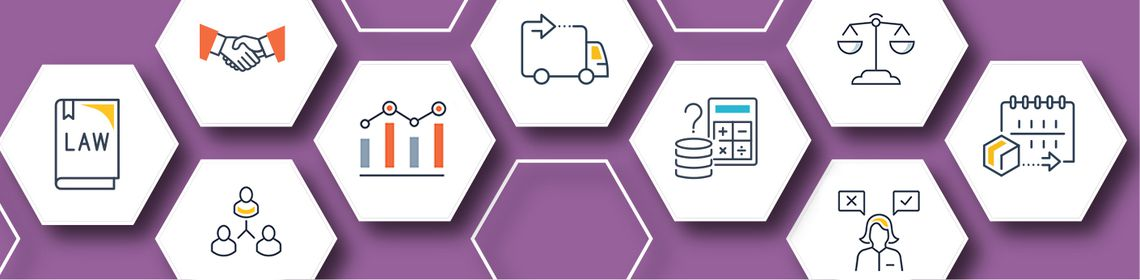 Subject guide purple banner, white hexagons, icons business and law