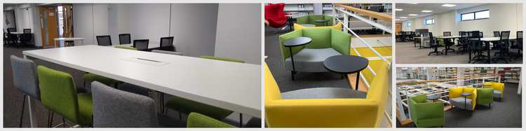 New seating areas at Glyntaff, green, yellow and grey chairs. High and low tables