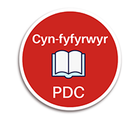 Red circle with open book in the centre. Cyn-fyfyrwyr PDC