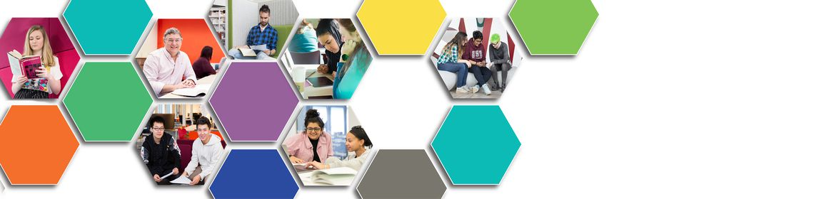 Colourful hexagonal banner with pictures of USW students studying in the library