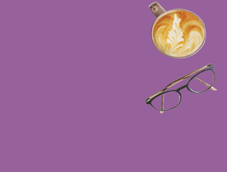 purple box, cup of coffee, pair of glasses