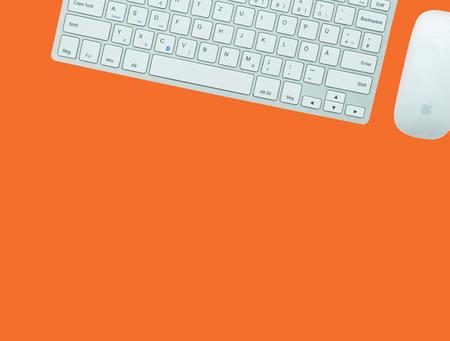 orange square, computer keyboard, mouse