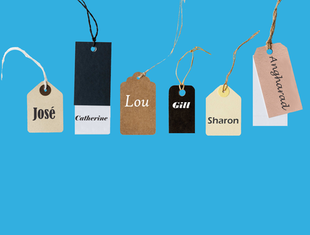 Paper tags, blue background