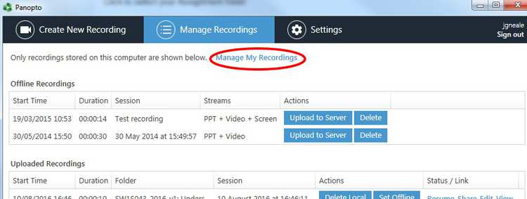 managing my recordings from recorder