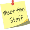 meet the staff yellow post-it note  with red pin