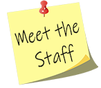 meet the staff yellow postit with red pin