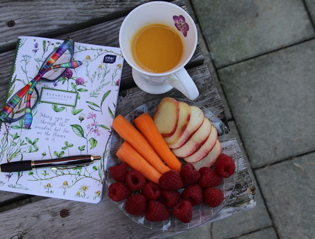 fruit and notebook