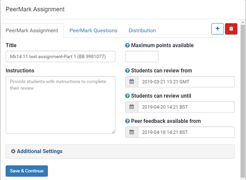peermark assignment details - date and points