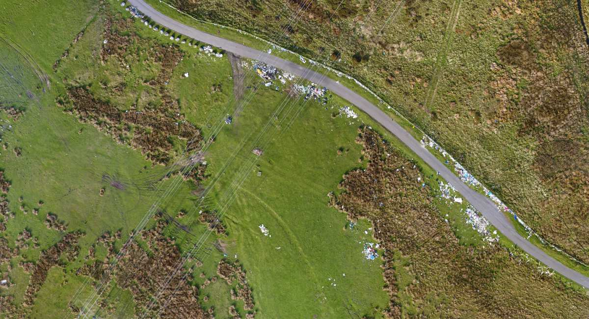 Aerial photograph of illegal fly tipping