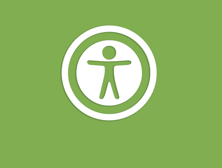 Icon of accessibility symbolIcon of Accessibility Symbol on Monitor, green square, white circle, stick figure with arms outstretched