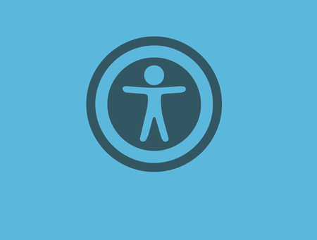 Accessibility icon, blue square, stick figure with arms outstretched