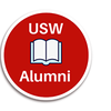 Red circle with open book in the centre. USW Alumni